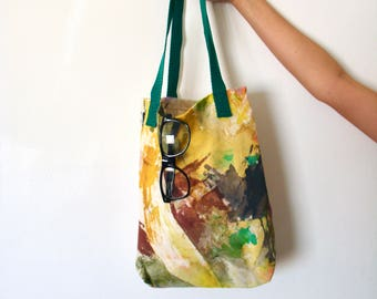 Cotton canvas tote bag -acrylic painted- splashed with green and pink colors