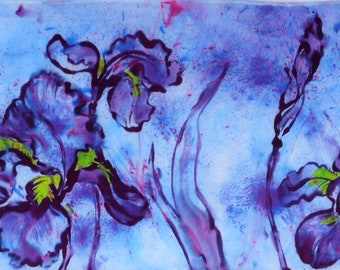 silk scarf hand painted Purple Iris unique wearable art women lavender bold floral luxury