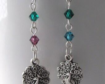 Peacock Earrings Swarovski Earrings Purple Earrings Green Earrings Blue Earrings Gift Ideas for Girlfriends Gift Ideas for Bird Lovers