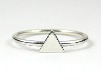 Sterling Silver Triangle Ring, Stacking Ring, Geometric Ring, Sterling Silver Ring, Thin Ring, Slim Ring, Modern Ring