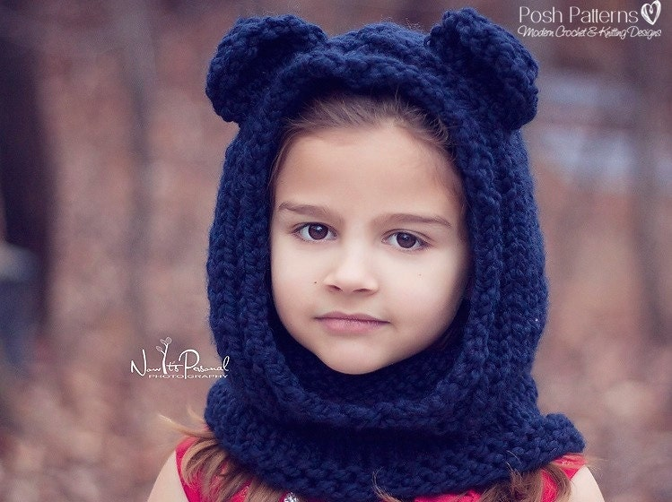 Knitting Patterns Knit Bear Cowl Pattern Bear Hood