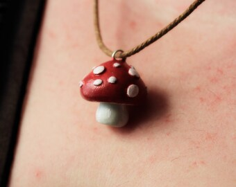 Toadstool Red Amanita Necklace Handmade Polymer Clay, Toadstools Jewelry, Polymer Clay Miniature
