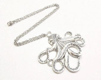 Octopus Necklace, Squid Necklace, Sea Animal Charm, Sea Jewelry, Ocean Jewelry, Ship Captain Gift, Nautical, Cruise, Navigation Jewelry,