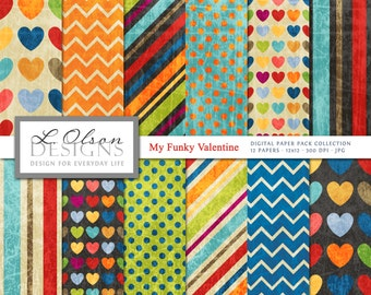 My Funky Valentine Paper Pack - 12 digital paper patterns - INSTANT DOWNLOAD