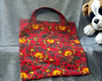 Holiday Small Gift Tote Bag, Golden Bells on Red Print