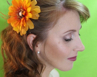 "Burnt Orange and Yellow Flower with Blush Center Stone and Wheat Spray Clip ""Piper"""