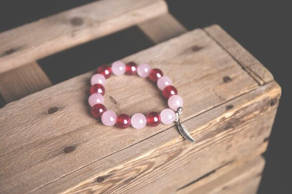Rose Quartz and Carmine Glass Bead Bracelet with Feather Tibetan Silver Charm, boho, natural, hippie, gypsy