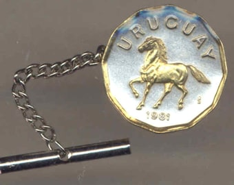 Tie tack - Uruguay  Horse, Gorgeous 2-Toned Gold on Silver  coin - Tie or Hat tack