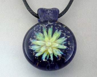 Blown Glass Pendant, Sea Anemone Flower of the Sea, Trippy Pendant, Borosilicate Lampwork Focal Bead (AN3227A)