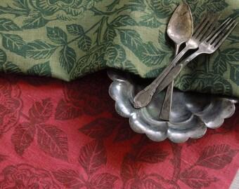 York and Lancaster rose garden botanical linen napkins hand block printed home decor hostess gift set of four