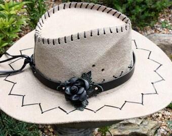 black leather hat band, black leather rose, hand made leather hat band, western hat band, cowboy hat band, cowgirl hat band, ladies hat band