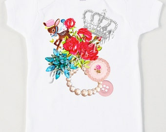 Shabby Tee Girl - Cottage Crown Deer - Paris Shabby Shirt - Retro Custom Size Vintage Tshirt