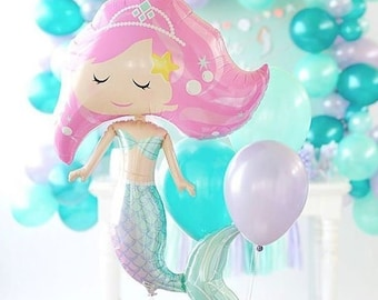 Mermaid Balloon Birthday Party Decoration - 94cm Quality Mylar Foil - Under the Sea Party!