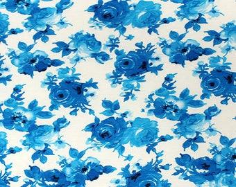 Blue Floral on White Cotton Spandex Blend Knit Fabric **UK Seller**