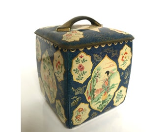 Vintage Tin -- Vintage Square Tin -- Vintage Tea Tin -- Vintage Woman Tin --Vintage Biscuit Tin -- Vintage Tin Canister - Vintage Asian Tin