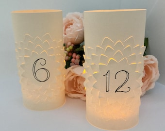 LUMINARY TABLE NUMBERS • Table Numbers Wedding • Wedding Luminaries • Wedding Table Numbers • Table Number Luminaries