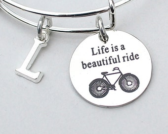 Live Is A Beautiful Ride , Charm Bangle, Charm Bracelet, Personalize, Initial, Cyclist Gift, Bicycle, Bike Rider, Bestfriend
