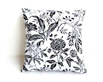 White With Black Print Decorative 16x16 Pillow Cover