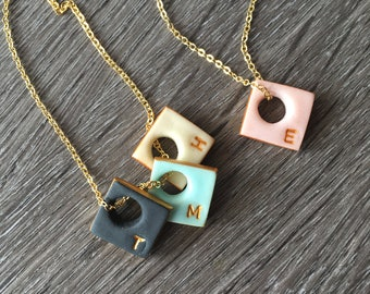 Mothers Day Personalized Necklace - Kids Initials - Simple modern color jewelry - Custom for Mom 2018 - EYELET SQUARE - Square letter charm