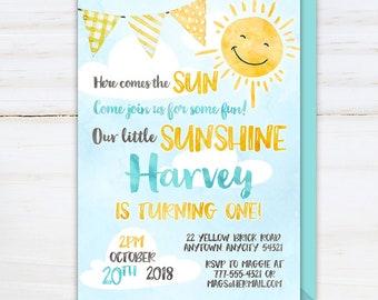 Little Sunshine Birthday Invitation, Here Comes the Sun Invite, You are my Sunshine Boy First Birthday Watercolor Printable Invitation