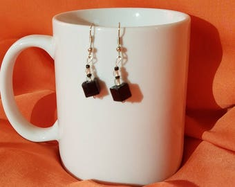 Black Geometric Cubes with Black and Clear Accents on Silver-plated hooks