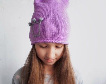 Violet girl wool beanie.  Knit girl hat. Lavender princess hat. Knitting woman hat. Princess knit hat. Hand knitted hat. Beanie knit hat