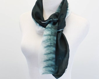 "Hand Dyed silk scarf  8""x72"" Shades of black ombre abstract, Gray and white abstract scarf, Habotai silk scarf, Black and white scarf"