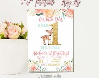 Deer Birthday Invitation Girl, Woodland,   Boho Flower Invite, First birthday invitation, Floral Invite, Deer invitation, Printable