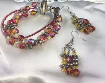 Hand Crafted 3 Swarovski Crystals Bacelet and Earring set