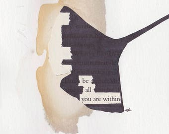 "Be All You Are Within - 3""x3"" Mantra Magnet  - Blackout Poetry and Tea"