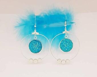 Brilliant blue silver rings earrings
