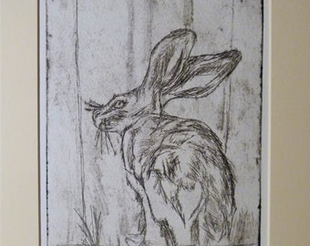 """Drypoint printed by hand """"Upright Hare"""" black on white, acid free paper"""