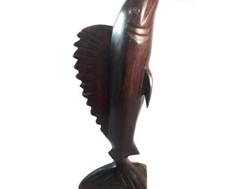 Vintage Ironwood Hand Carved Mahi-Mahi, Large Hand Carved Wooden Fish