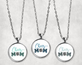 Cheer Mom Necklace Black and Columbia Blue Cheer Pom Pom Pendant, Glass Cabochon, Cheerleading Jewelry, School Spirit, Black and Aqua Blue
