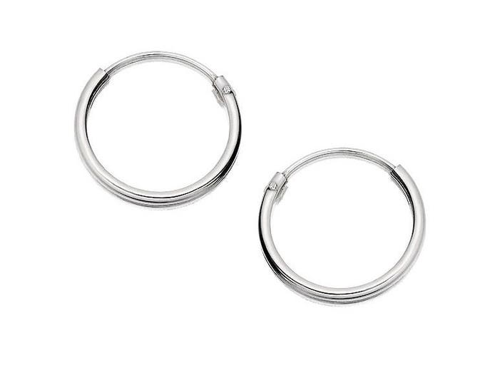 Sterling Silver 12mm Hinged Threader Sleeper Hoop Earrings