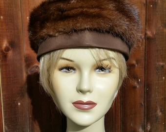 Vintage 50s, 60s Mink Pill Box Hat, Brown, Shirley Blair