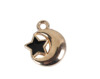 """5 charms """"Moon/Star"""" in gold tone metal with enamel 1,4 cm"""
