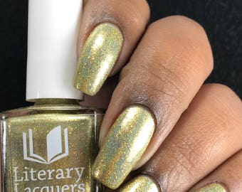 NEW! The Golden Afternoon - Bright gold linear holographic Nail Polish - Alice in Lacquerland