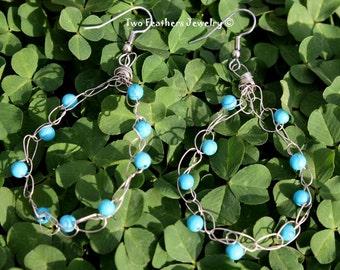 Turquoise And Silver Earrings - Crochet Earrings - Turquoise Earrings - German Silver Wire - Boho - Hippie - For Her - Dangle Earrings