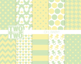 "Baby Digital Paper: ""NEUTRAL GREEN & YELLOW"" with Heart, Stripe, Polka Dot, Pacifier, Star Patterns for Baby Showers, New Baby Scrapbook"