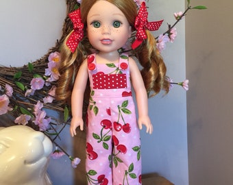 """Cherries on pink jumpsuit or overalls designed for the 14.5"""" doll or wellie"""