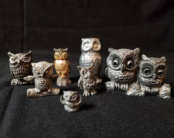 Set of 7 Owls Mostly Pewter