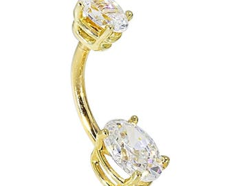 Petite Oval Solid 14K Yellow Gold Belly Rings