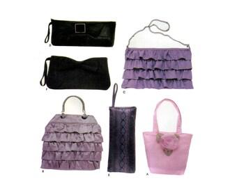 Evening Bags Purses Pattern Ruffles Roses Tiered Handbag Clutch Chain Cute Flirty Handbags Simplicity 5560 One Size Sewing Pattern