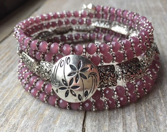 Purple Flower Power Multi Strand Memory Wire Coil Wrap Bracelet With Flower Button
