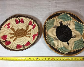 Rwanda crab and turtle flat baskets