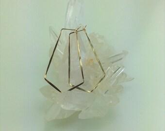 Large Gold Diamond-Shaped Hoop Earrings
