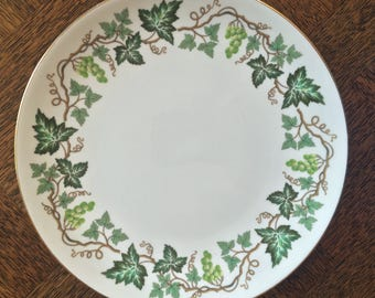 Vintage Wedgwood  Cake Plate, Santa Clara, Green Grapes and Leaves, Vintage China, England, Bone China, Vintage Gift, English Country, C