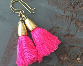 No. 015 - Hot Pink Cotton Tassel Earrings with Raw Brass - Caicos