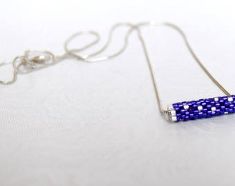 Miyuki Delicas beads woven with purple and silver necklace
